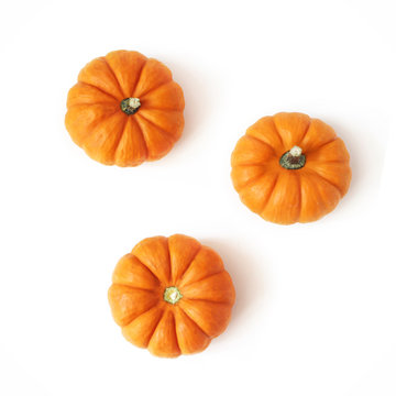 Autumn composition of little orange pumpkins isolated on white table background. Fall, Halloween and Thanksgiving concept. Styled stock flat lay photography. Top view, square. Vegetable design.