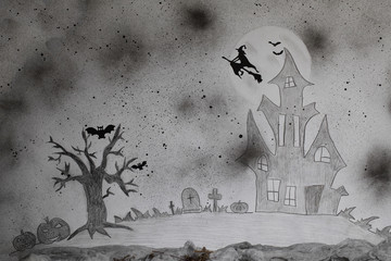 Scary Halloween background. Painted picture.