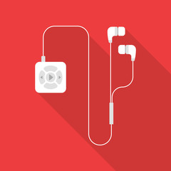 White mp3 player with earphones flat icon isolated on red background. Simple mp3 player with long shadow in flat style, vector illustration.