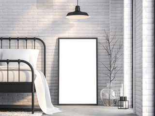 Close up blank picture frame in loft bedroom 3d render,There are white brick wall,polished concrete floor,Furnished with black sreel bed ,Natural light from the side windows.