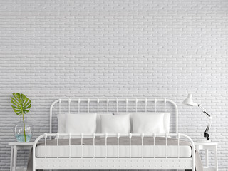 Vintage bedroom 3d render,There are empty white brick wall ,Furnished with white steel bed,Decorate with glass jar and green leaf.