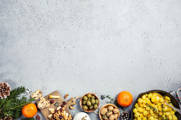Festive flat lay with christmas dinner party table, holiday vegeterian food concept background, top view