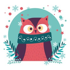 Christmas character, snowflakes falling down and owl bird