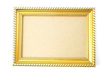 gold photo frame isolated on white background