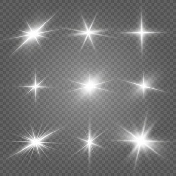 Glow isolated white light effect set, lens flare, explosion, glitter, line, sun flash and stars. Abstract special effect element design. Shine ray with lightning