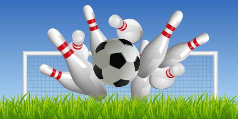 Concept insolite montrant un ballon de foot renversent des quilles de bowling.