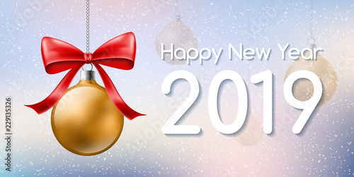 new year banner for 2019 with hanged golden christmas ball and red bow in