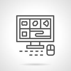 A computer tomography monitor line vector icon