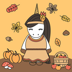 cute cartoon lovely native indian american female unicorn thanksgiving vector illustration