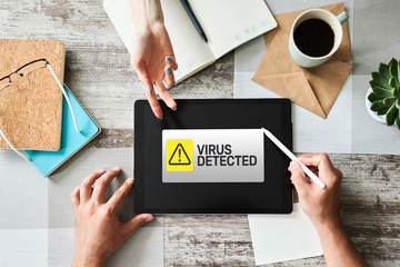 Virus Detected warning message on screen. Cyber security breach. Data protection internet and technology concept.