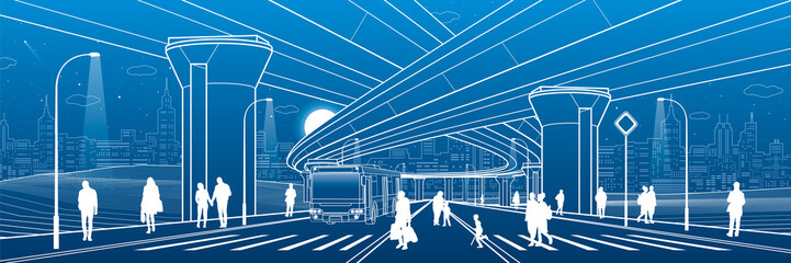 City architecture. Infrastructure illustration, transport overpass, big bridge, urban scene. Bus move. People walking at street. Night town highway. White lines on blue background. Vector design art