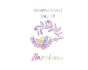 Greeting Card International Day of Happiness. background