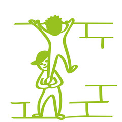 Handgezeichnete Männchen klettern über Mauer in hellgrün