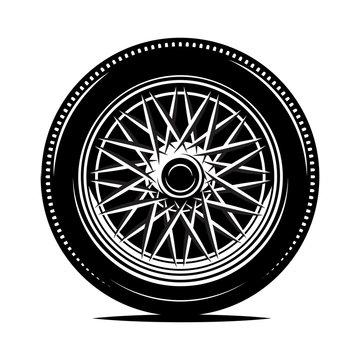 Retro wheel spokes for a motorcycle or car. Vector monochrome illustration.