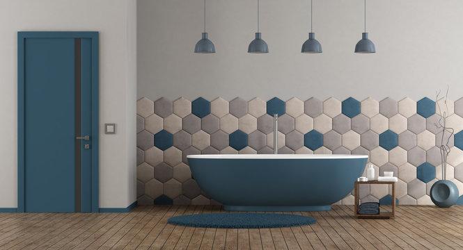 Blue and gray modern bathroom