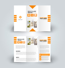 Brochure design. Creative tri-fold template. Abstract geometric background leaflet layout. Orange color vector illustration.