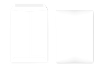A4 white catalog envelope with self adhesive seal, vector template