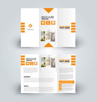 Brochure design. Creative tri-fold template. Abstract geometric background leaflet layout. Orange color vector illustration.