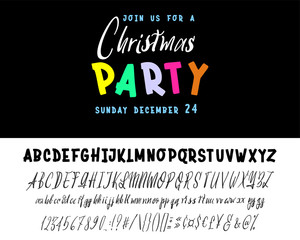 join us for a Christmas party horizontal flyer. Vector of stylized two fonts handwritten and alphabet.