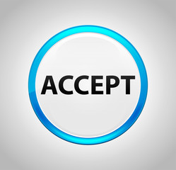 Accept Round Blue Push Button