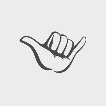 Shaka hand vector sign. Hang loose symbol