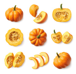 Set of fresh whole and sliced pumpkin