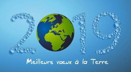Carte de vœux 2019, sur le concept de l'environnement, pour souhaiter à la terre tous nos vœux de réussite dans la lutte contre le réchauffement climatique.