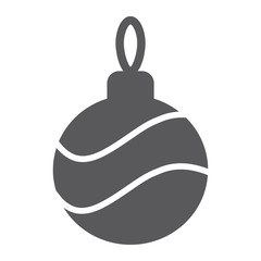 Christmas tree ball glyph icon, xmas and decoration, bauble sign, vector graphics, a solid pattern on a white background