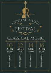 Vector poster for the annual festival of classical music in vintage style with violin on the black background