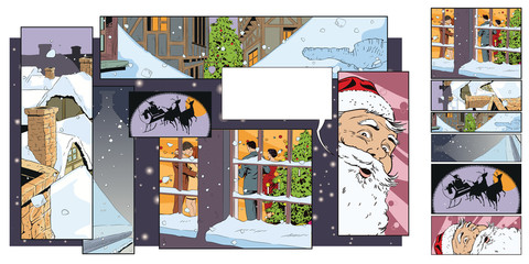 Collage on theme christmas and new year. Stock illustration.