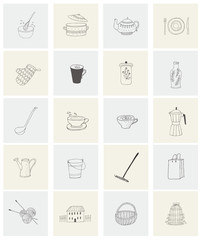 Set with housewares, garden items and house for print.