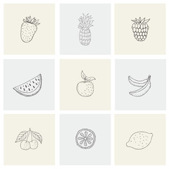 Set with healthy food, fruit, berries for print.