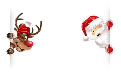 Weihnachtsmann Rudolph Seite Lächelnd Knipsauge