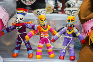 Thai ghost puppets with colorful mask called Phi Ta Khon