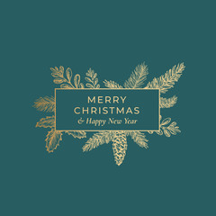 Merry Christmas Abstract Botanical Card with Rectangle Frame Banner and Modern Typography. Premium Green Background and Golden Greeting Sketch Layout