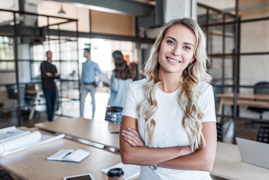 Portrait of smiling woman in office