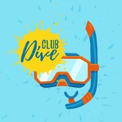 Snorkeling and diving center vector logo illustration