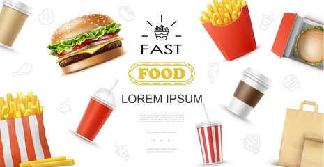 Realistic Fast Food Elements Concept
