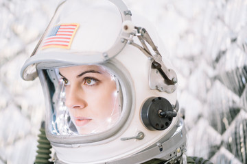 Girl Wearing Old Space Helmet