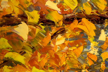 Abstract autumn painting art background. Multicolored bright texture. Contemporary art. Oil...