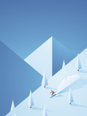 Extreme downhill skiing vector poster with freeriding skier going down the mountain in high speed. Winter holiday advertisement for ski resorts.