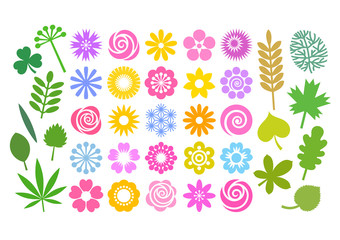 Big set of flowers and leaves in simple cartoon flat style. Cute floral collection for patterns, borders, greeting cards. Vector.