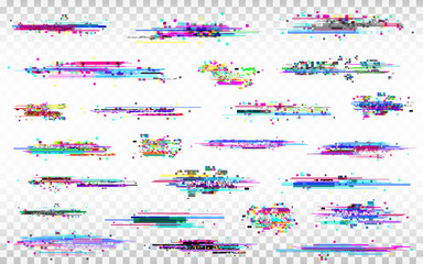 Glitch elements set. Color distortions on transparent background. Abstract digital noise. Error collection. Modern glitch templates. Pixel design. Vector illustration