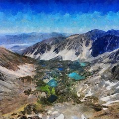 Hand drawing watercolor art on canvas. Artistic big print. Original modern painting. Acrylic dry brush background. Beautiful mountain travel landscape. Wild nature view.