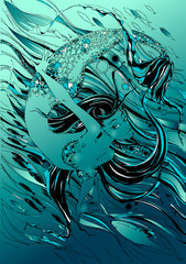 Mermaid. The tale is a myth. Underwater world. Fishes. Graphics Vector