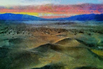 Hand drawing watercolor art on canvas. Artistic big print. Original modern painting. Acrylic dry brush background. Beautiful mountain travel landscape. Wild nature view. Wonderful red sunset.