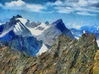 Hand drawing watercolor art on canvas. Artistic big print. Original modern painting. Acrylic dry brush background. Beautiful snowing mountain travel landscape. Winter wild nature view.