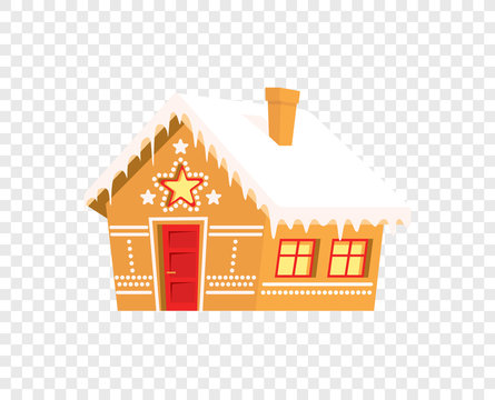 Gingerbread house. Christmas, new year, winter holidays card, poster, banner, clothes print. Vector illustration, flat design style sweet figure isolated