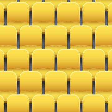 Background of yellow plastic stadium seats on sport arena and stadium. Vector illustration