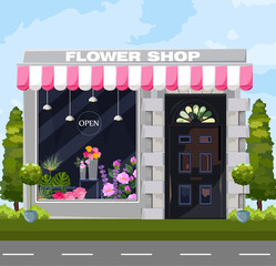 Flowers shop facade Vector. Architecture detailed cartoon style illustrations